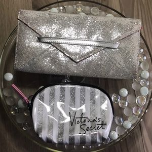 Victoria's Secret Silver Glitter Clutch/Makeup Bag